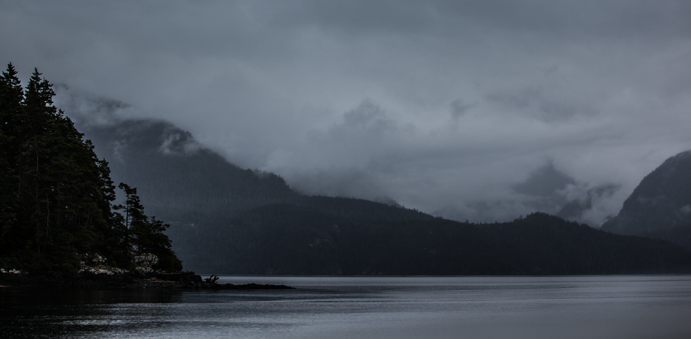 The view from Boat Bay across Johnstone Strait to Robson Bight