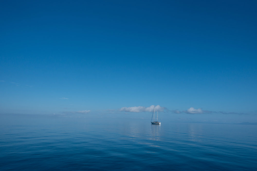 Tahitian Dream anchored off Taveuni. Our view of the Koro Sea.