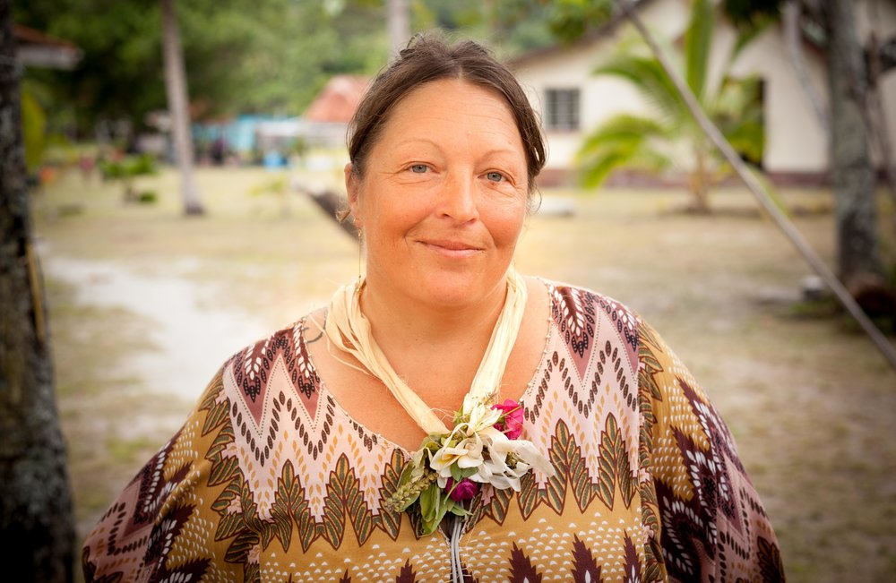 Jill of SV Me Too, dressed for the big celebration at Fulaga. One fo the village women had given her the flower necklace, it was powerfully fragrant, like a tropical scent explosion.