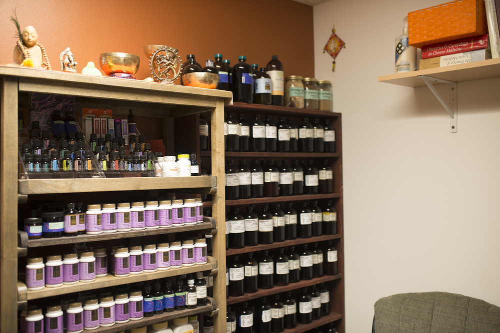 An herbalist provides Birth Center patients with tinctures and herbs (if desired).