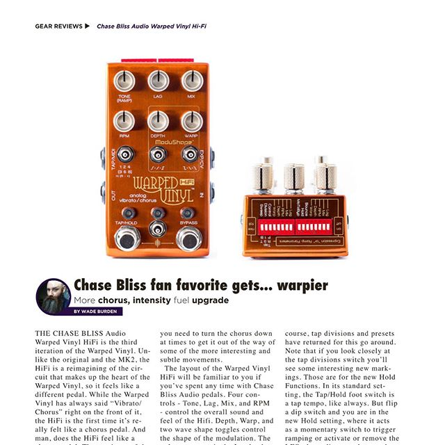 Before NAMM gets us all distracted go check out my two reviews in @gearphoria - @chaseblissaudio Warped Vinyl HiFi is a short easy to read look at the newest version of the Warped Vinyl.  My review of the @hologram_electronics Infinite Jets is in-depth and technical.  So whatever suits you, it's there. #beardtone #gearphoria #infinitejets  #warpedvinyl #chaseblissaudio #hologramelectronics