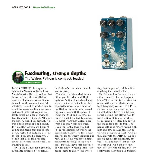 The @walrusaudioeffects #Fathom maybe the most fun I've ever had with a reverb.  Go check out my review in the latest @gearphoria #gearphoria #walrusaudio #beardtone