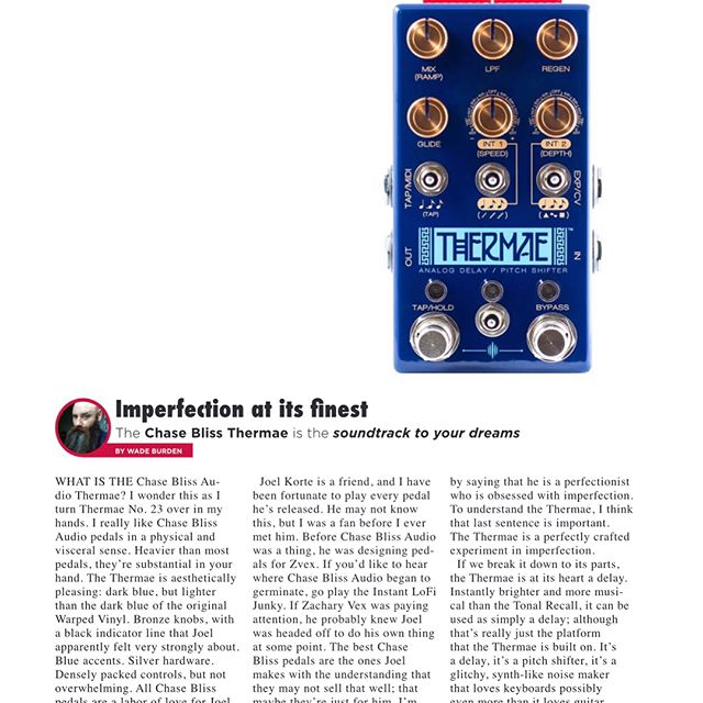 Blake, Jordan and I tackle a manly pile of pedals in the review section of the latest @gearphoria  Pg 58 @bmf_effects Marc F'n Ford Pg 60 @oldbloodnoise Excess  pg 62 @walrusaudioeffects Emissary  pg 64 @chaseblissaudio Thermae  pg 66 @zvexeffects '59 Sound