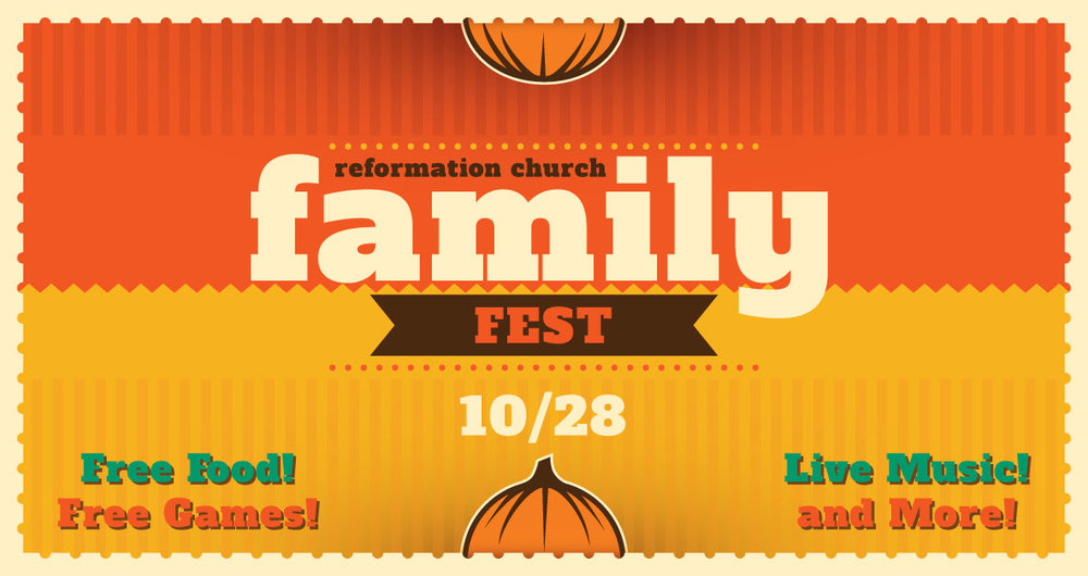 Bring your family and friends and join us for our Fall Family Fest! Free Food, Free Games, Live Music, and more! Family Friendly Costumes Welcome.  10:45 AM - 12:15 PM - Morning Worship Service | 12:30 PM - 3:00 PM - Fall Festival   Facebook Event Page:  www.facebook.com/events/560249821076995/