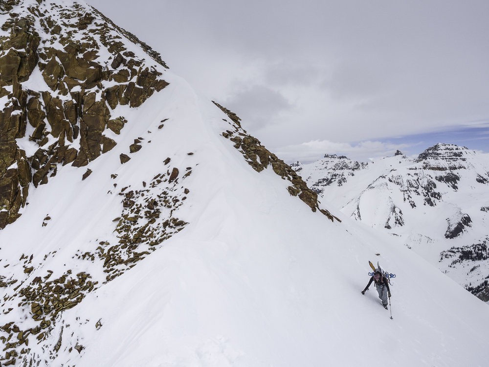 Sneak Attack - Gaining this Couloir from its backside - Kristin