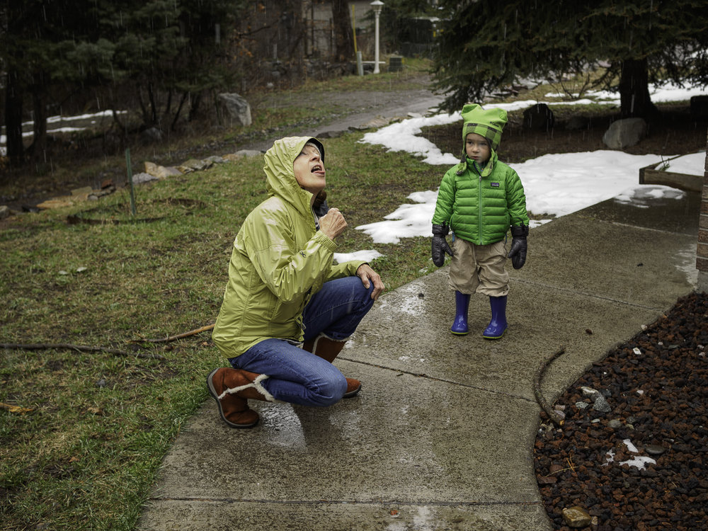 Catching Snowflakes at the Ouray House - Grandma, Liam