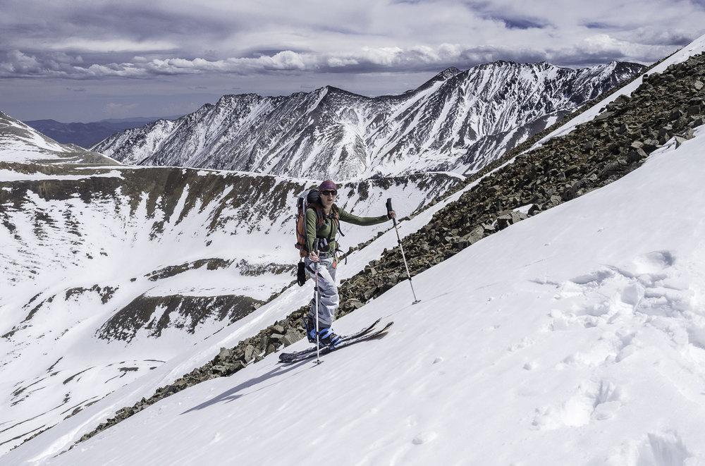 Gaining Cronin's North Ridge - Kristin