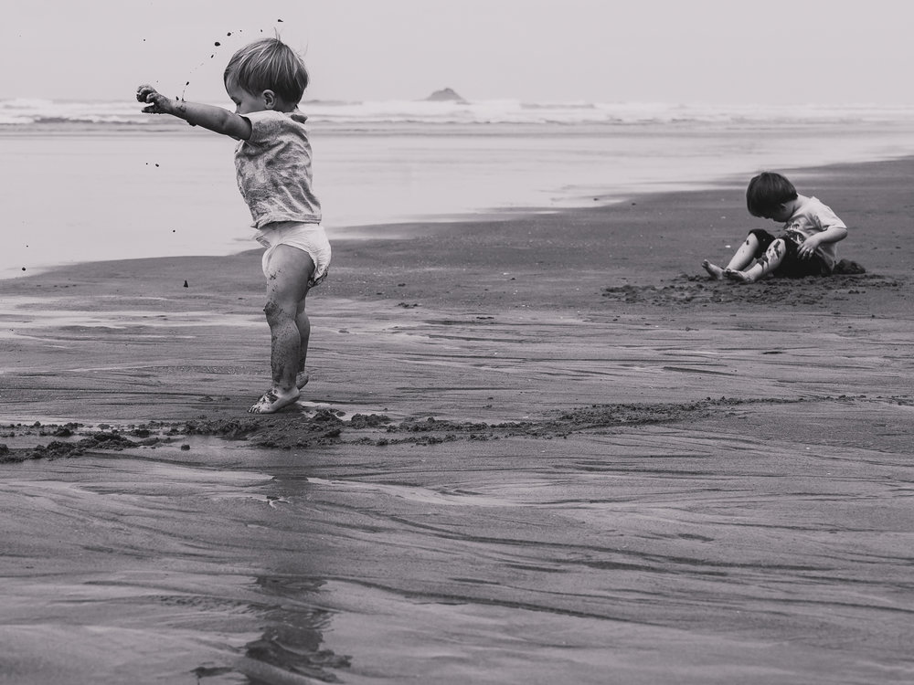 Playing with Sand - Oregon Coast