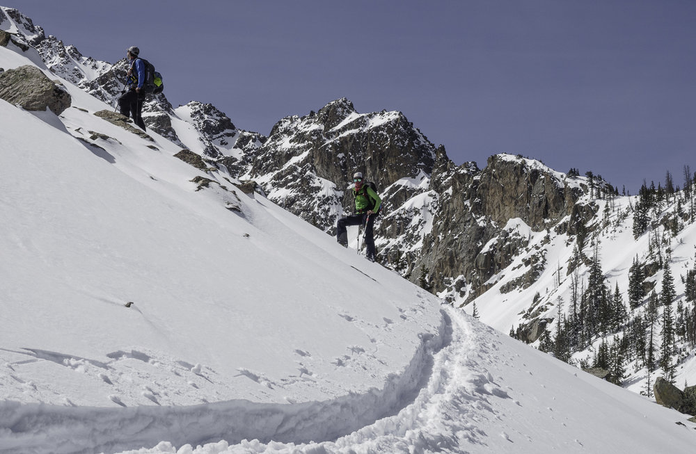"Final Push to ""Orphan Boy"" Couloir - Dave, Jamie"