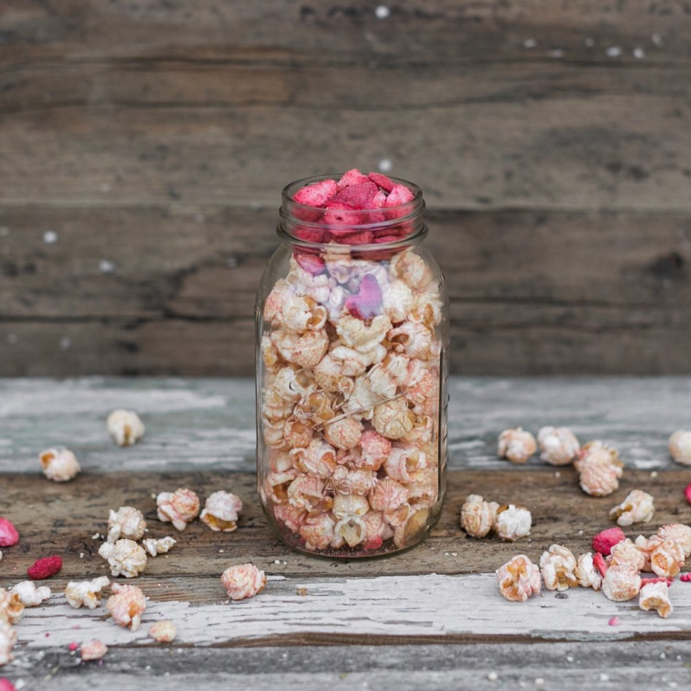 Strawberry Balsamic - Sweet corn is tumbled in real strawberry and balsamic vinegar powder to create this treat!Available in the summer months.Dairy & Gluten FreeVegan