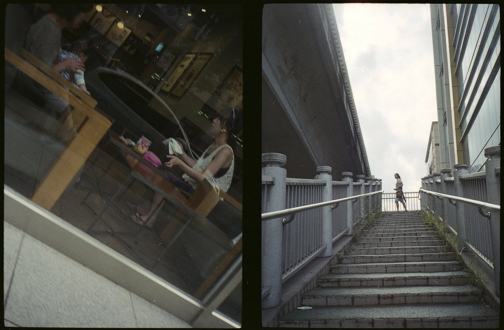 Coffee and Woman on Stairs
