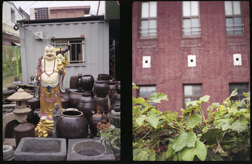 Buddha and Kimchi Pots