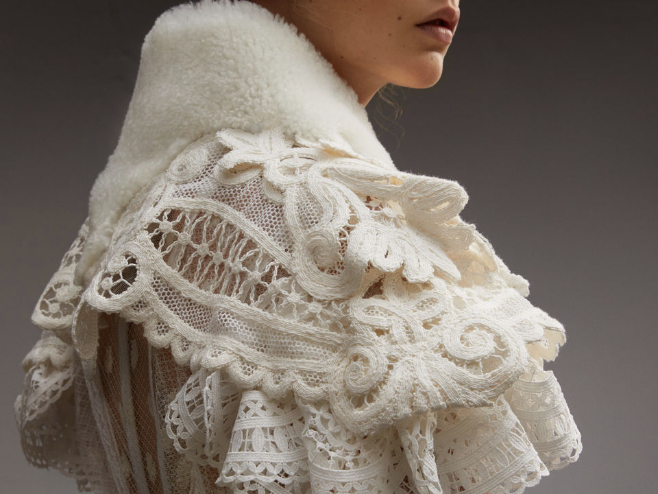 Above, Lace Capelet with Shearling Collar. Below you can see the lace imprinted into the surface of the porcelain.
