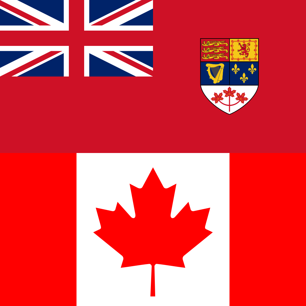 Canadian Red Ensign 1957-1965 (above). Canadian Maple Leaf 1965-present (below).