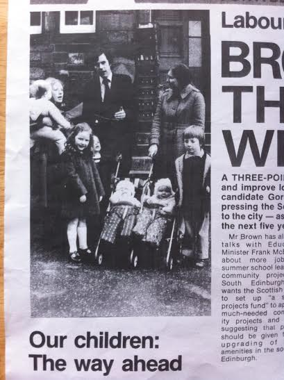 A young Gordon Brown with an even younger Alice Hague, both looking to camera