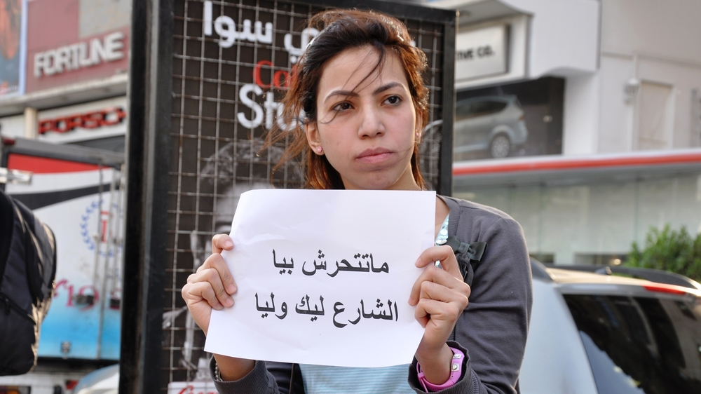 """Don't harass me. The street is yours and mine."" in Egypt's first 'human chain' against sexual harassment. Photo Credit: UN Women under CC"