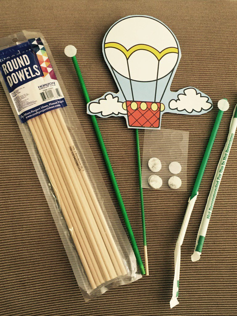 "Velcro dots on wooden dowels or Starbucks straws work great for holding character ""props""."