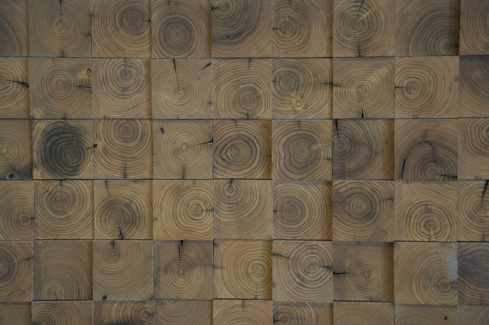 Reclaimed wood wall detail.
