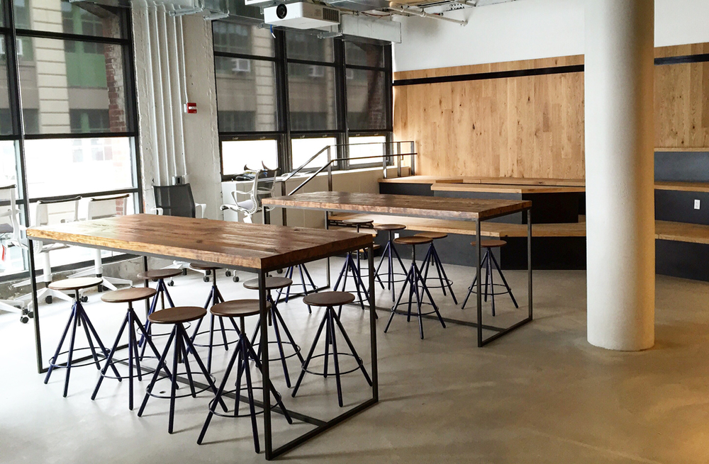 Steel and wood tables and railing by ATH Studios.
