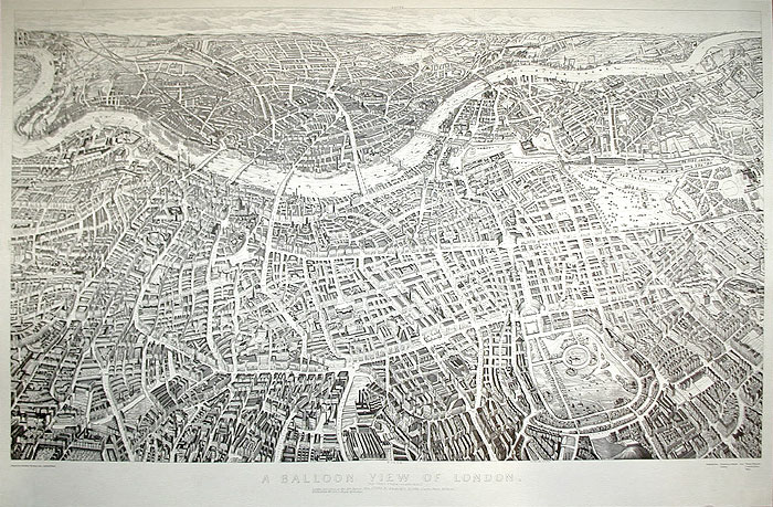 """A Balloon View of London as seen from Hampstead 1851"" -   Banks & Co"