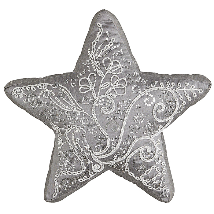 Pier 1 Imports Silver Beaded Star Pillow  銀色珠繡靠枕  $24.95  pier1.com  604 742 2340