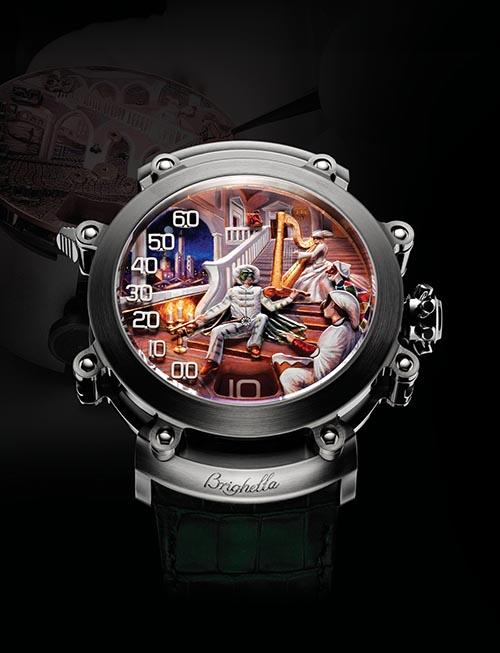 Bulgari Commedia Dell'Arte 寶格麗Commedia Dell'Arte系列教堂音簧三問報時錶。錶盤採用琺琅彩繪技術,描畫出16世紀意大利宮殿的背景。人物動作的設計靈感來自16世紀下半葉誕生的即興喜劇。六點鐘位置為小時指示窗口,7點與11點位置之間為懸浮的分鐘數字,由活動人偶的右臂指示。 bulgari.com, at Montecristo Jewellers, 604 263 3611