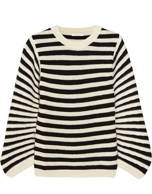 蔻依條紋羊絨衫US$995* 海軍條紋無論一年四季都不會過時。寬鬆的羊絨衫,讓妳兼具舒適與時尚。 net-a-porter.com