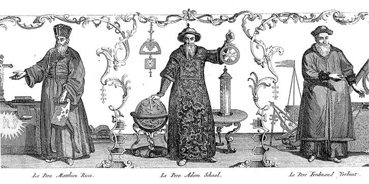 渾天儀旁穿欽差大臣衣袍的耶穌會傳教士。左起依次為利瑪竇、湯若望、南懷仁。