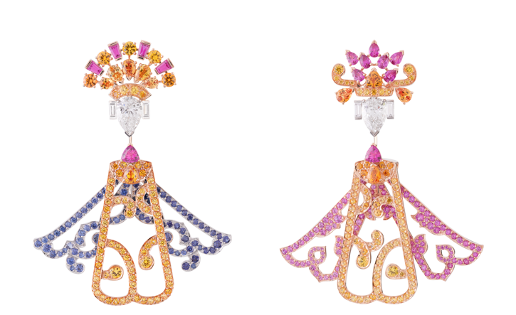 "Van Cleef & Arpels Bals de Legende Collection ""Opera Chinois"" Earrings 用鑽石和各色藍寶石妝點起自己的名伶,正期待著登上舞臺,為大家高歌一曲助興。 At Birks,www.vancleefarpels.com"