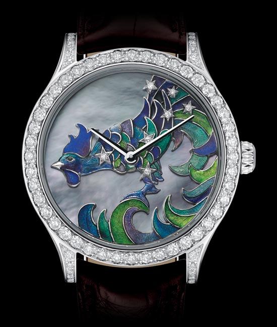 梵克雅寶午夜星辰系列之雄雞座奢華腕錶,限量22枚。錶盤採用精細的內填琺琅技術和珍珠貝母鑲嵌。上圖為技師們正將濕粉狀的琺琅填充在雕刻好的基板凹槽內,之後將進行燒製。  vancleefarpels.com , At  Birks , 604 669 3333