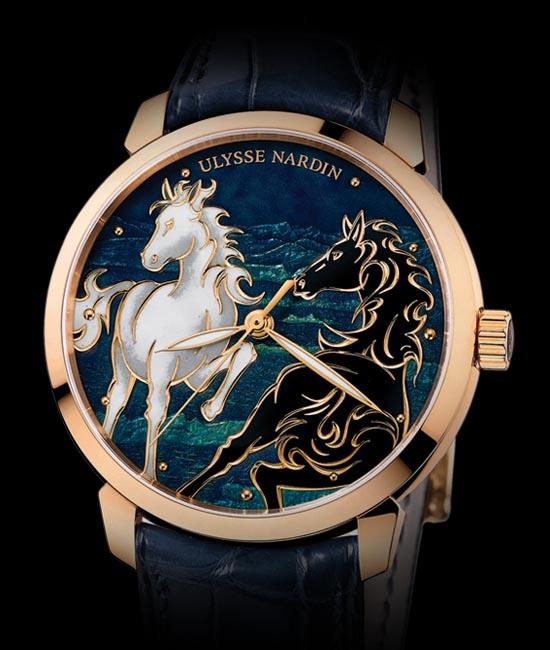 雅典2014年5月即將面世的「鎏金騏驥」腕錶,錶盤採用複雜精細的內填琺琅工藝。  ulysse-nardin.com , At  Lugaro , 604 925 2043 / 604 430 2040