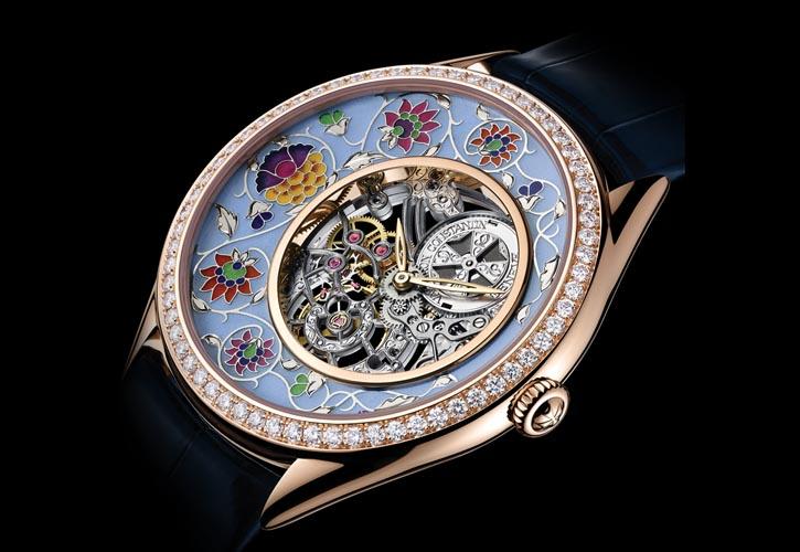 江詩丹頓Metiers d'Art藝術大師系列Fabuleux Ornements「傳奇裝飾」之「印度手稿」,錶盤為大明火內填琺琅和手工雕刻工藝,限量20枚。 vacheron-constantin.com , At  Palladio , 604 685 3885