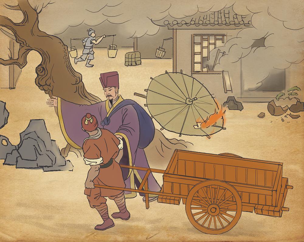 宋朝裴姓商人在失火時反而出城採購。結果在大火過後,城鎮重建中出售建築材料賺取了可觀的利潤。