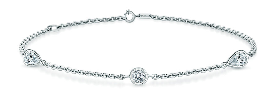 De Beers Clea Three Diamond Bracelet 戴比爾斯18K白金鑽石手鏈 USD$950