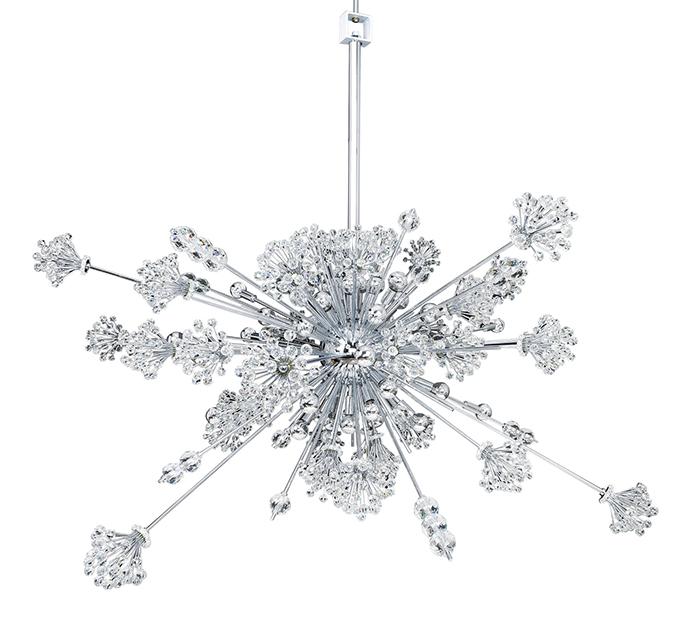 Allegri Crystal Constellation 30 Light Pendant    , $4,371   放射狀的設計,讓嬌柔的水晶散發出滿滿的力量,點亮時,如散落下漫天飛舞的雪花。    At The Lighting Warehouse, 604 270 3339       thelightingwarehouse.com