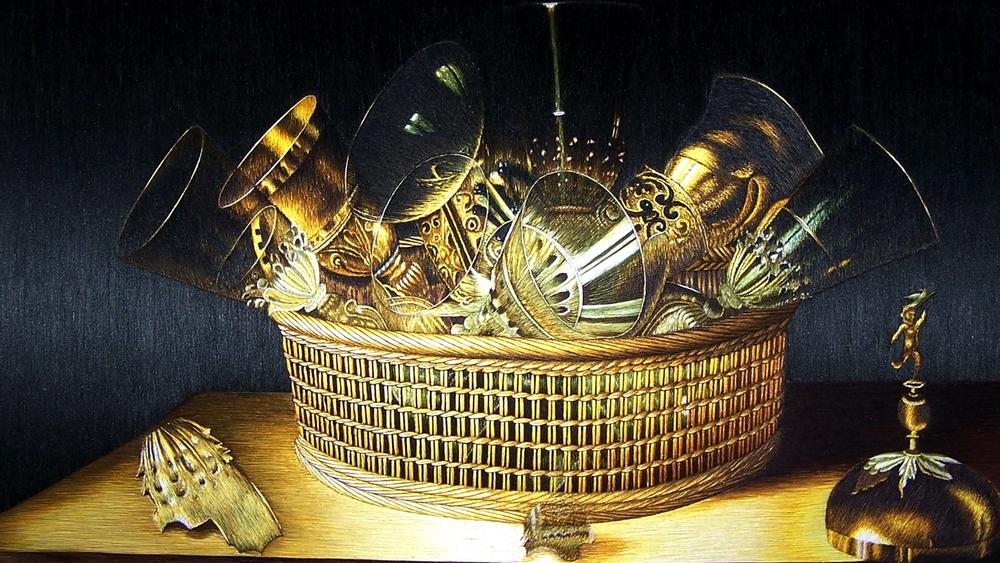 蘇繡名畫:玻璃壺, 水果和花卉。塞巴斯蒂安( Sebastian Stoskopff )作于 1644。 蘇繡工作室提供。 尺寸:40 x 30 cm or 16 x 12 inches