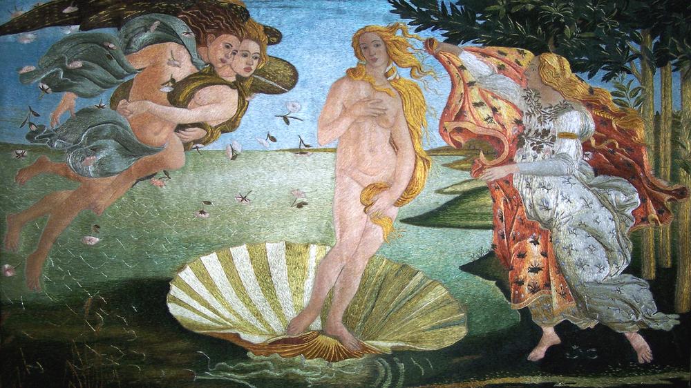 蘇繡: 維納斯的誕生 。大小: 80 x 50 cm or 32 x 20 inches,  蘇繡工作室提供。