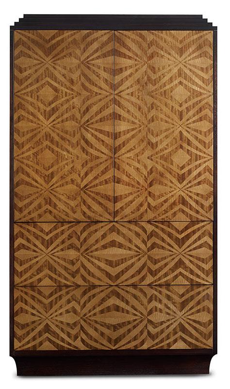 Baker Tonio Chest , Price Upon Request 櫃門上的圖案取材自傳統的西班牙地板,櫃頂的階梯式設計和櫃腳的弧線帶來豐富的視覺變化。 At Brougham Interiors, 604 736 8822  broughaminteriors.com