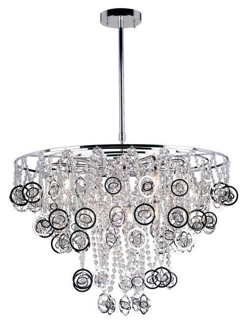 The Lighting Warehouse 12 Light Pendant, price upon request 水晶珠串上流淌著靈動的裝飾環,如在水中歡快起伏的氣泡。 At The Lighting Warehouse, 604 270 3339  thelightingwarehouse.com
