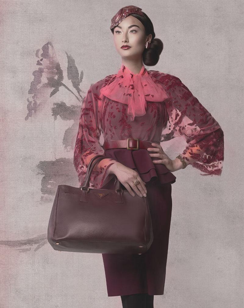 Hand embroidered tulle top ($800) by Helmer Couture and Atelier. Three-quarter sleeve peplum dress ($650) by Diane Von Furstenberg, at Holt Renfrew 詩詞出處:張祜《集靈台》
