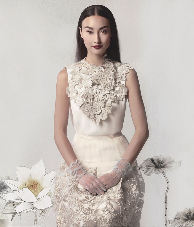 Lace embroidered tulle skirt ($2,800) with matching lace scarf ($620) by Helmer Couture and Atelier. White dress ($415) by Theory, at Holt Renfrew 詩詞出處:李白《清平調》