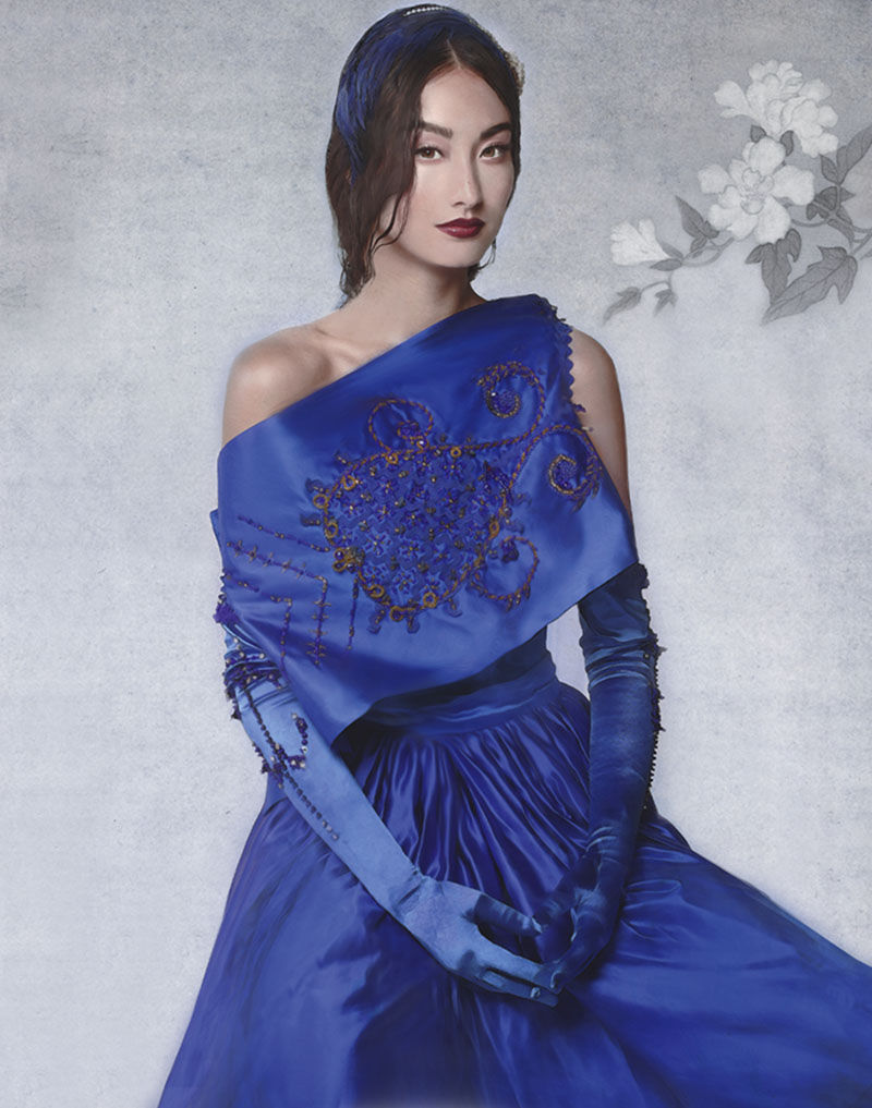 Hand embroidered silk top ($1,200) and pleated skirt ($520) by Helmer Couture and Atelier 詩詞出處:劉脊虛《闕題》