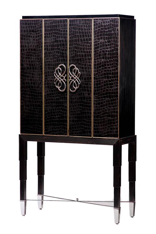 Marge Carson Bossa Nova TV Cabinet, $7,259 層疊的櫃腿,龜裂的面板,華美的把手,簡潔的電視櫃,在一處處細節的雕琢下,煥發出華麗優雅的氣場。 At Paramount Furniture, 604 273 0155 paramountfurniture.ca