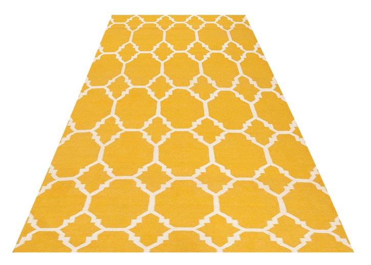 3.Decorium Yellow and Cream Accent Rug, $499 純羊毛地毯,金黃的色彩與古典連續紋樣滿載溫暖與華麗。 At Decorium, 800 232 2267 decorium.com