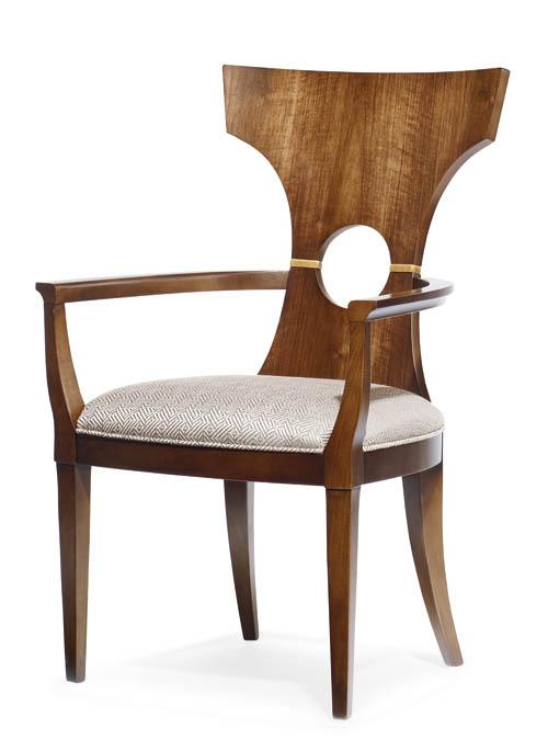 6.Century Furniture Espo Dining Arm Chair 整體造型仿製中國傳統的圈椅,椅背處的鏤空卻反其道而行之,形成豐富的視覺效果。 At Paramount Furniture, 604 273 0155 paramountfurniture.ca