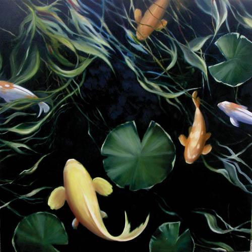 對有才華的本地藝術家,Celine總是提攜有加,如 Markian Olynyk (「 Arc Series:7BG5 」藍色和彩色玻璃藝術品)和 Ken West (「 KOI 」帆布油畫)