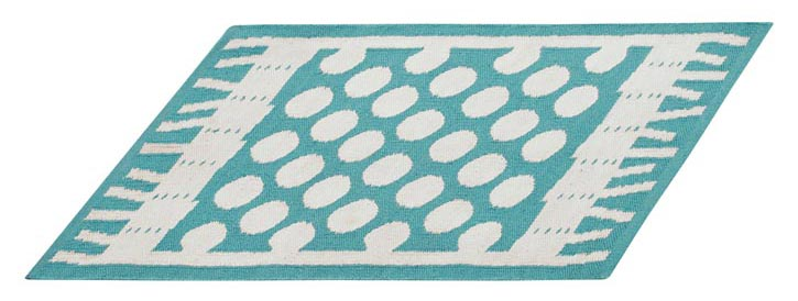 Party Turquoise Indoor-Outdoor Rug 室內室外兩用地毯 crateandbarrel.com, 604 269 4300