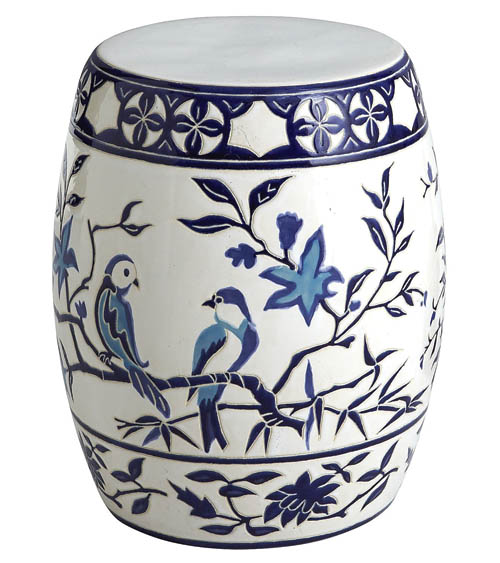 Pier 1 Blue & White Bird Garden Stool 花鳥圖案青花瓷圓凳 pier1.com, 604 742 2340