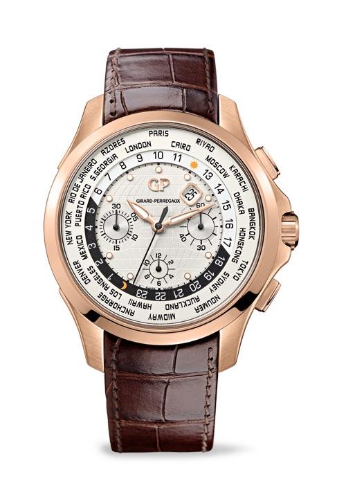 芝柏 Girard-Perregaux Traveller WW.TC 玫瑰金錶殼,銀白色錶盤最外圈有24個時區代表城市名稱,黑白雙色24小時內圈代表日夜,每24小時轉一圈,全球24個時區的時間一目瞭然。另有日期顯示功能和計時功能。 girard-perregaux.com, At Palladio, 604 685 3885