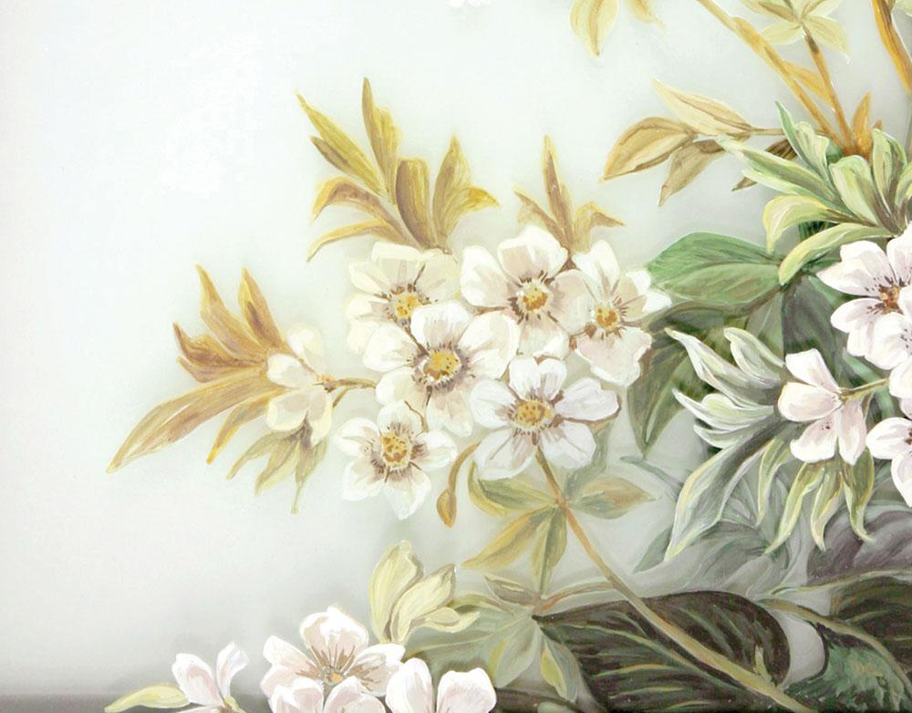 主過道裏的中式風格牆面裝飾板,同樣由溫哥華Gorman Studios製作。